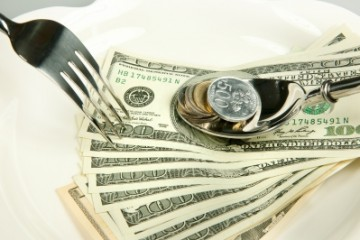 Dollar bill with fork
