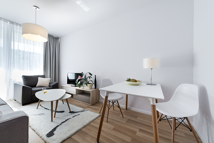 Modern interior design room in scandinavian style