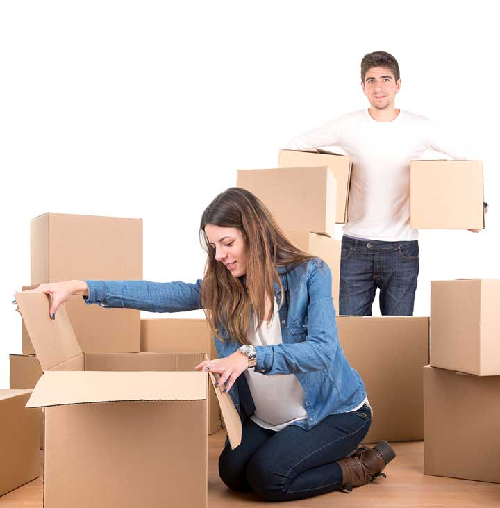 young couple with boxes