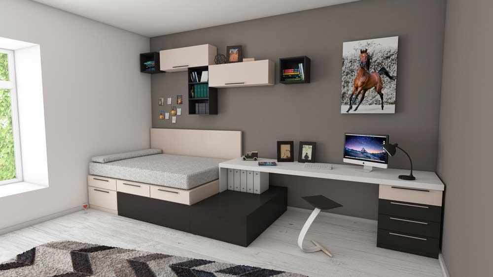 apartment bed bedroom bookshelves