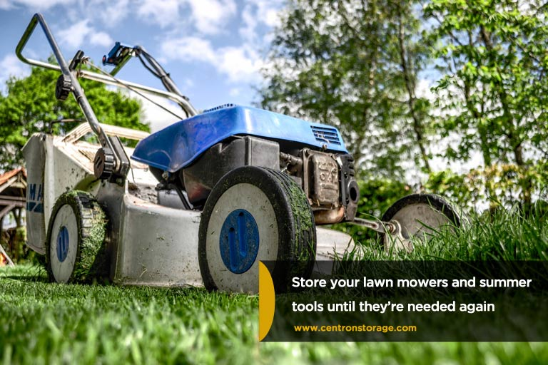 Store-your-lawn-mowers-and-summer-tools-until-they're-needed-again