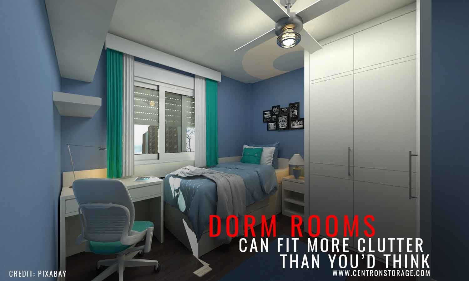 Dorm rooms can fit more clutter than you'd think