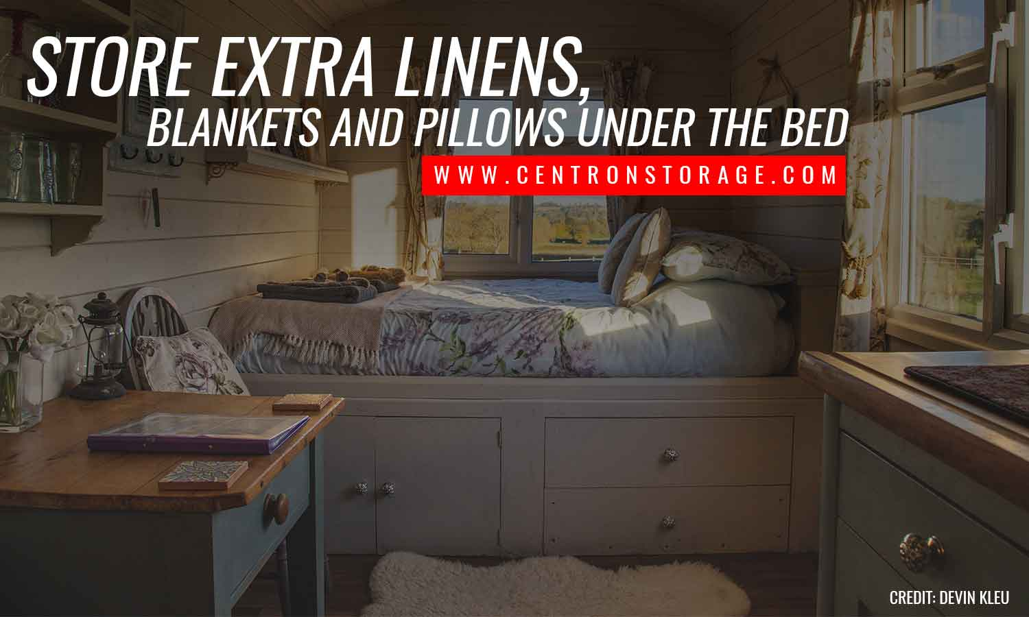 Store extra linens, blankets and pillows under the bed