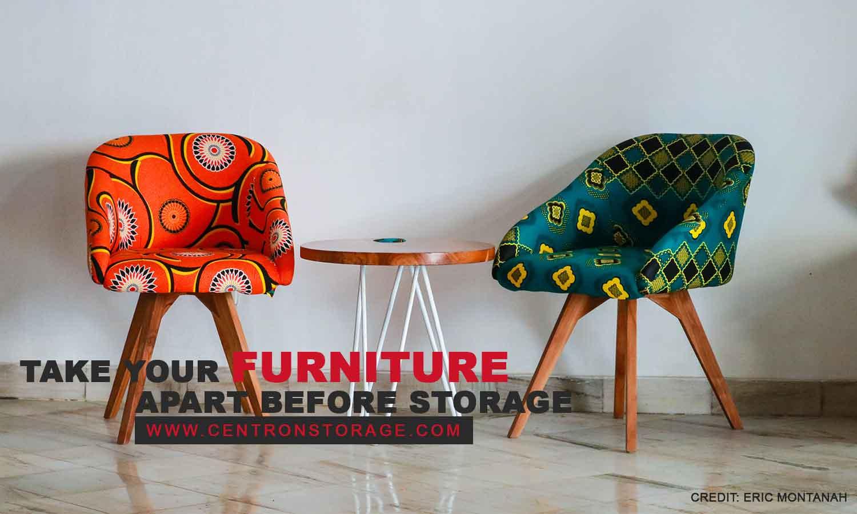 Take your furniture apart before storage