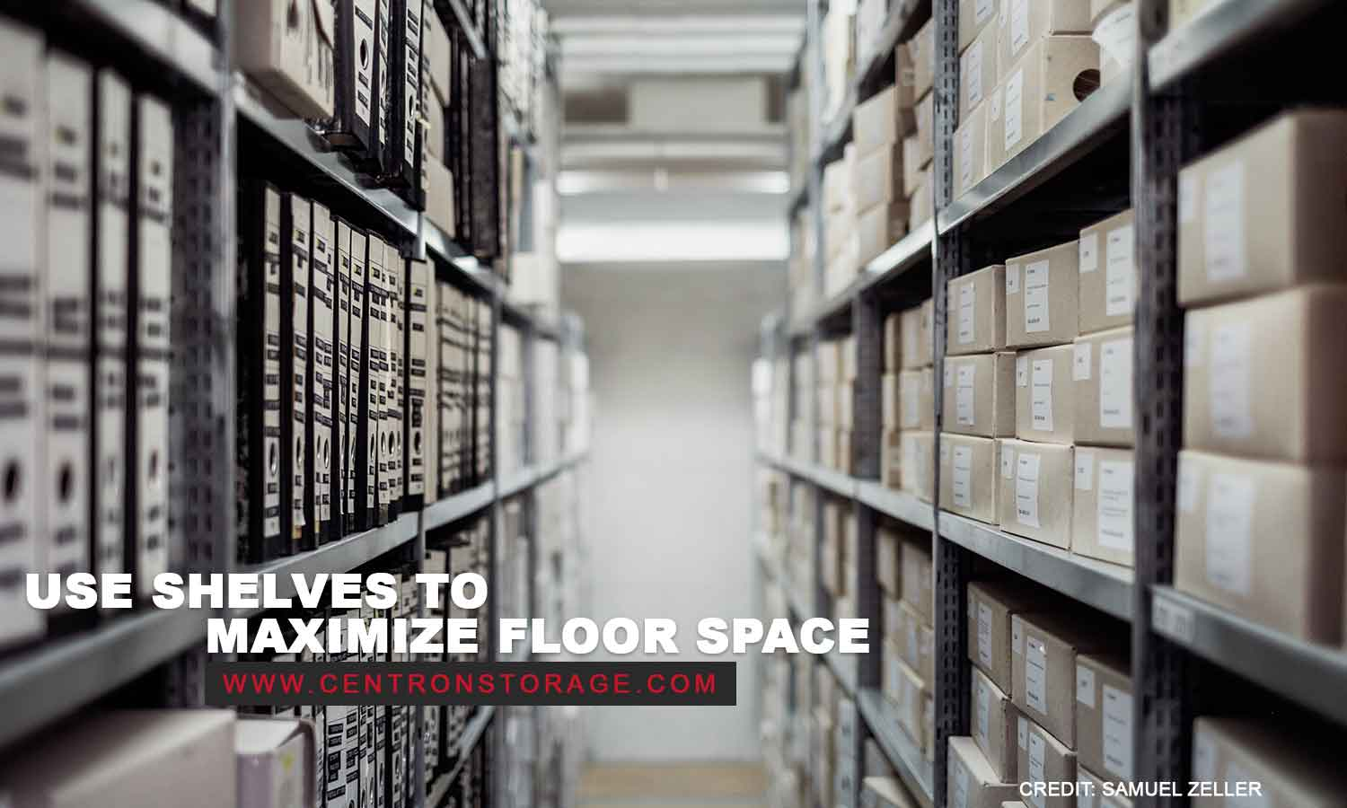 Use shelves to maximize floor space