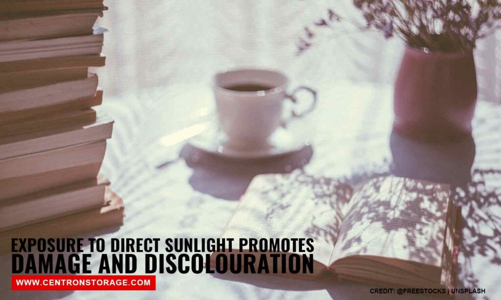 Exposure to direct sunlight promotes damage and discolouration